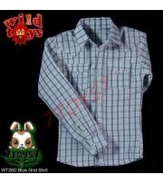 Wild Toys 1/6 026 Grid_ Blue Grid Shirt _Fashion Now WT032D