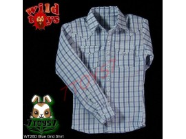 Wild Toys 1/6 026 Grid_ Blue Grid Shirt _Fashion Now WT032D