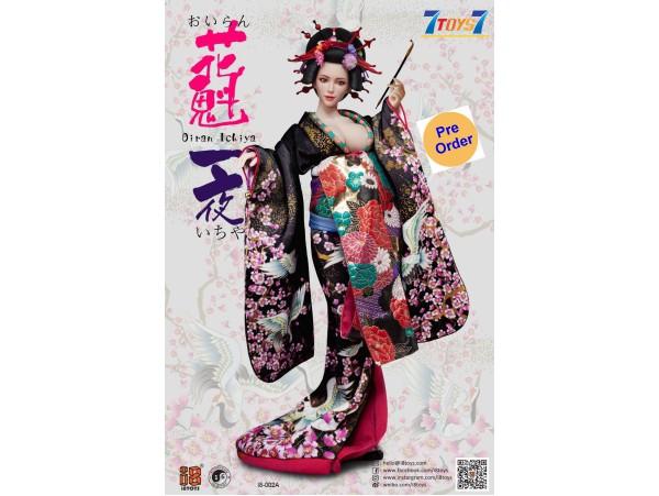 [Pre-order deposit] i8Toys 1/6 I8-C002A OiranIchiya clothing (Black Long Furisode)_ Set w/ Head _IET001A
